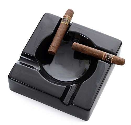 Mantello Cigars Large Black Ceramic Cigar Ashtray